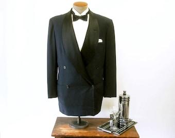 1950s Shawl Collar Tuxedo Jacket Mens Vintage Double Breasted Formal Blue-Black Dinner Jacket / Tux Satin Collars - Size 42 (LARGE)