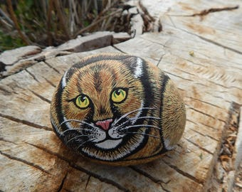 Mountain lion, cougar painting, mountain lion painted rock, mountain lion art