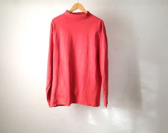 90s vintage PINK huge soft mock TURTLENECK long sleeve shirt