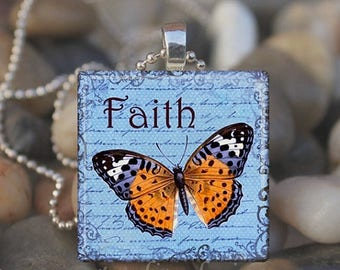 15% OFF SALE : FAITH Hope Butterfly Inspirational Glass Tile Pendant Necklace Keyring