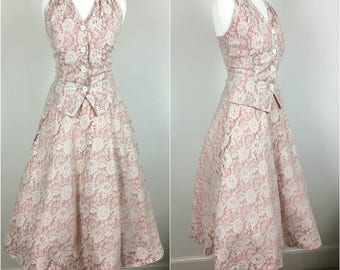 Vintage 1950s Two Piece Suit - 50s Pink Taffeta & Lace Halter Top and Skirt - Swing Skirt - Rockabilly Wedding - xs Small