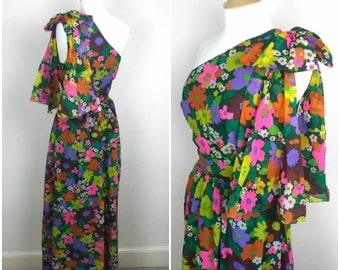 Vintage Jean Allen 1960s Maxi Dress - 60s 70s Bohemian dress - Floral Grecian Dress - Wedding Party Dress - Medium - UK 12 / US 8 / EU 40