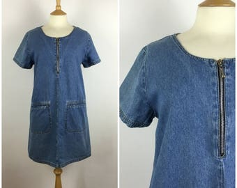 Vintage 1990s Denim Dress - 90s Blue Oversized Dress - Shift Dress -  Medium / Large - UK 12-14-16 / US 8-10-12 / EU 40-42-44