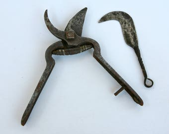 Antique Italian secateurs and cutting tool