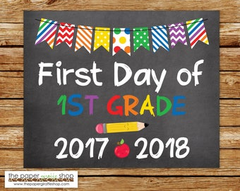 First Day of First Grade Sign | Chalkboard Sign | First Day of School Sign | First Day of 1st Grade | Back to School Printable