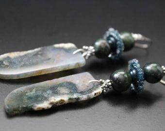 Gemstone sliced nugget earrings - fall woodland boho earrings - long artisan lampwork glass earrings - mossy forest green statement earrings