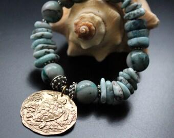 Larimar and Green Girl Studios sea turtle charm bracelet, beach boho bracelet, ocean blues stretch bracelet, Bali sterling stacking bracelet