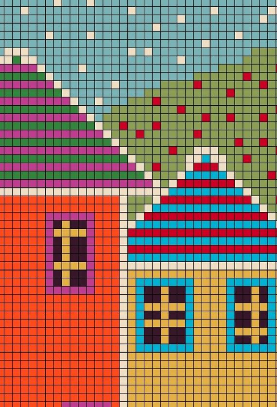 English street folk art cross stitch pattern modern