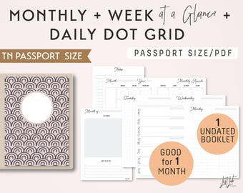 PASSPORT Size Monthly-Weekly-Daily Dot Grid TN Printable Booklet Insert - fits Traveler's Notebook Passport Size
