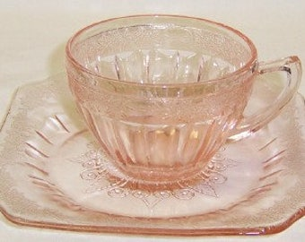 Jeannette Depression Pink ADAM Coffee or Tea CUP and SAUCER