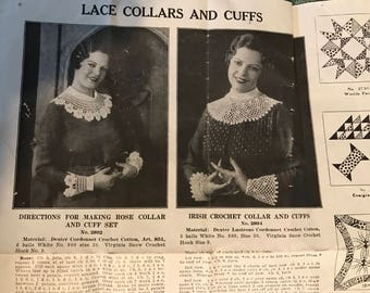 1920s-Edwardian Instructions for Crocheted Collar & Cuff Set and Quilt Designs