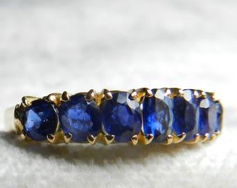 Sapphire Wedding Band 14K Rose Gold Vintage Sapphire Stacking Ring 1940s Wedding Ring Art Deco Wedding Band September Mermaid ring