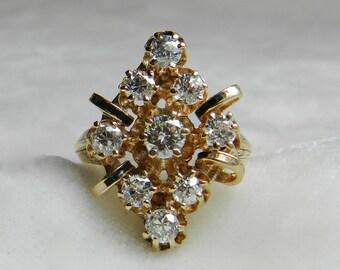 Mine Cut Diamond Ring 14K Antique 1.25 Ct Old European Cut Diamond Antique Engagement Ring 14K Enamel Victorian Ring 1920s Shield Ring