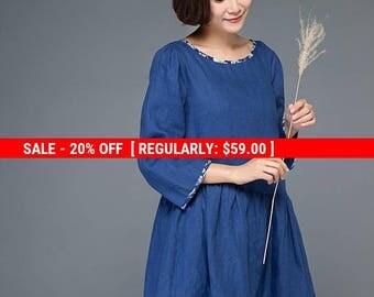 tunic dress, tunic, tunic dress linen, blue tunic, blue tunic dresses, tunic tops, tunic shirt, womens tunic, loose tunic, linen tunic C1151