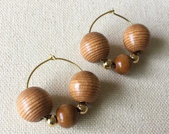 SUMMER SOUL COLLECTION // African Beaded Earrings // Natural Wood Beads // Boho Chic // Bohemian Jewelry // Gold