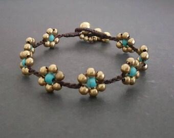 Brass Turquoise  Flower  Bracelet