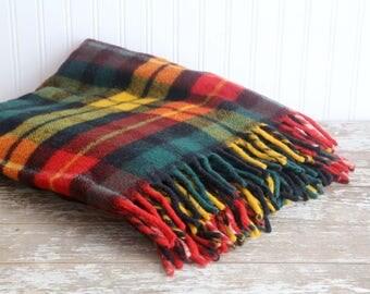 Vintage Wool Blanket, Wool Stadium Blanket, Wool Picnic Blanket, Red, Orange, Yellow, Green, Rustic Cabin Decor, Cabin Blanket