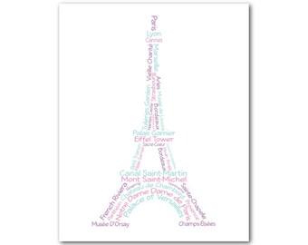 Eiffel Tower Print - Paris France Typography Wall Art - Travel - Versailles - French Theme Wall Decor - gift for Paris lover -teen tween art