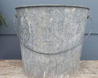 ON SALE Vintage Galvanized Metal Bucket, Rustic Farm Ranch Decor Feed Bucket, Flower Container Display