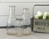 Vintage Milk Bottle Trio . Modern Farmhouse Kitchen Decor . Fixer Upper . Industrial Rustic Decor . Glass Bottles Vase . Cow