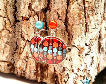 Earrings, polka dots, small multicolored dots, fashion, retro jewelry cabochon