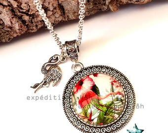 Necklace pendant, pendant necklace, Flamingo, flamingo, tropical, exotic, summer, Palm, cabochon jewel