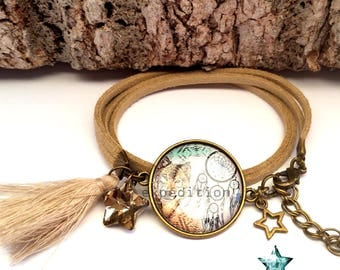 Bracelet suede wrap, Wolf, dreamcatcher, Bohemian, ethnic, boho, native Americans, jewel cabochon, toho