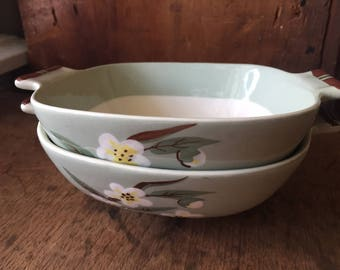 Vintage Weil Ware celadon BLOSSOM midcentury California soup bowl PAIR MCM pottery dinnerware dishes handpainted flowers mint green