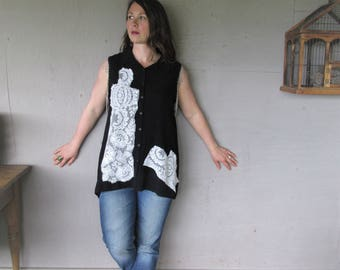 upcycled black shirt Romantic clothing recycled Boho summer tunic wearable art 1X lace patchwork Bohemian fun clothes LillieNoraDryGoods