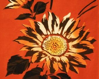 Vintage Japanese cotton yukata fabric. Kansai Brown Sunflower Vintage kimono fabric