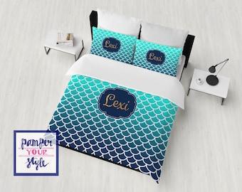 Mermaid Bedding Duvet or Comforter - Custom Ombre Mermaid Bedding - Monogrammed Mermaid Bedroom Decor - Mermaid Scales Bedding
