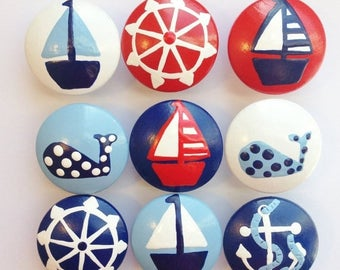 Huge Summer Sale CLEARANCE - Adorable Nautical Hand Painted Drawer Knobs - Red Captains Wheel - great for dresser drawers for boys kids chil