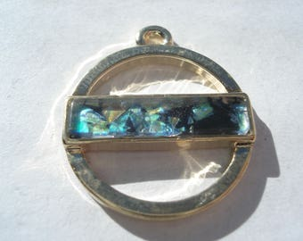 24mm Zinc Based Alloy Charm, Geometric Gold Plated Round Blue Green Charm, Imitation Opal Charm, C209