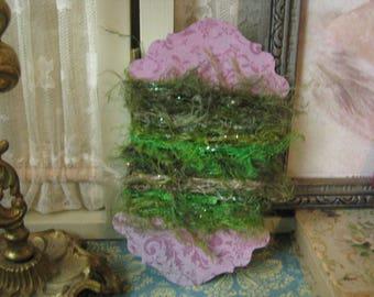 Magical Festival Sparkling Green Eyelash Yarn Trim Fairy Moss Fairy Woods Junk Journals Mini Albums Mixed Media Art Supplies