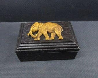 Wooden Trinket Box With Elephant