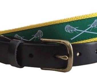 LacrosseLeather Belt / Leather Belt / Canvas Belt / Preppy Webbing Belt for Men, Women and kids/ White Lacrosse Sticks on Green Ribbon