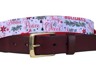 Happy Holidays, Peace Cheer Leather Belt /Ugly Christmas Sweater Belt/Leather Belt /Canvas Belt /Preppy Belt for Men/Happy Holidays Belt