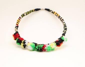Pom Pom Necklace, Statement Fiber Necklace, Black Red Green Yellow White, Fabric Necklace, Pom Pom Jewelry, Cotton Necklace, Unique Necklace