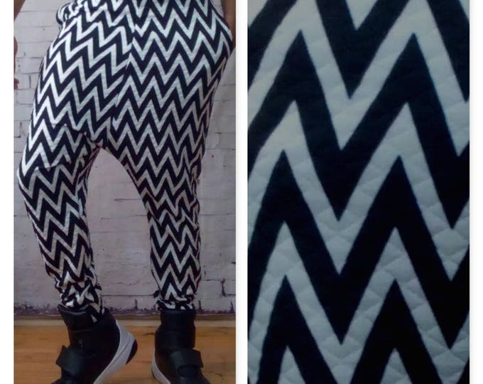 Quilted Chevron Pattern Printed Drop Crotch Joggers