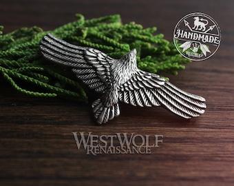 Flying Raven Pendant -- Viking/Norse/Medieval/Crow/Hugin/Munin/Necklace/Silver/Pewter/Ragnar
