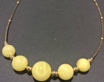 Amber bead necklace, Goldf-filled