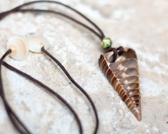 Unisex Center Cut Shell Necklace On Vegan Leather Cord. 100% Adjustable.