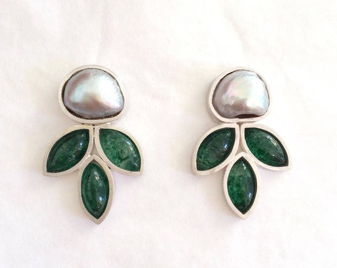 Baroque pearl - aventurine - earrings - silver 925 - one of a kind handmade jewelry - summer earring