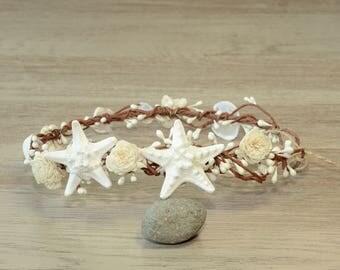 Beach Wedding Hair Accessories Mermaid Shell Crown Starfish Sola Flower Headband Bridal Seashell Headpiece Little Mermaid Bridesmaids Tiara