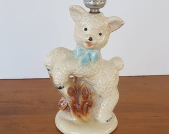 Vintage Lamb Nursery Lamp Base Sheep Figurine - for parts or repair  - Baby Infant Child Room Decor Night Light Shabby Cottage Decor