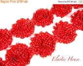 "ON SALE 30% OFF 2.5"" Printed Shabby Rose Trim - Red White Dots  - Christmas Flowers - Chiffon Trim - Diy Headband/Hair Bow/Hair Acessories S"