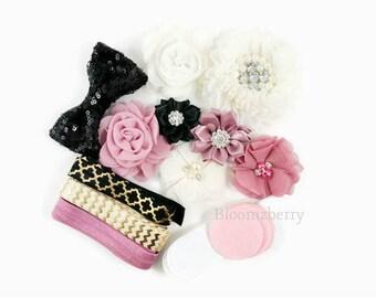DIY 25 pcs Flower Headband Kit -Black/Ivory/Mauve Color- DIY Baby Shower Flower Headband Kit - Flowers ,Elastic,Rhinestones, Felt and Bow
