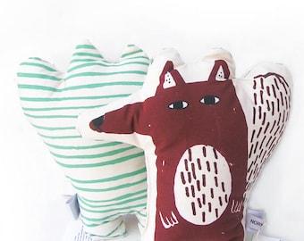 Stuffed animal cushion , fox