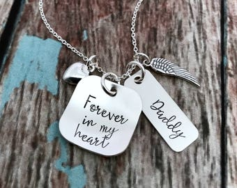 Memorial Necklace, Forever in my Heart, Memorial Jewelry, Remembrance Jewelry, Memory Necklace, Sympathy Gift, Remembrance Necklace