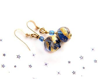 blue white Murano glass leaf gold 14 carat gold plated hook earrings